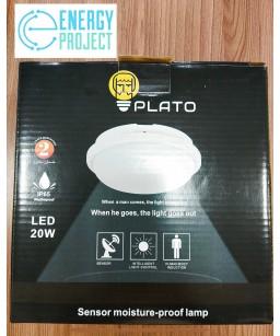 Светильник  LED НПП 20W круг белый с датчиком PLATO