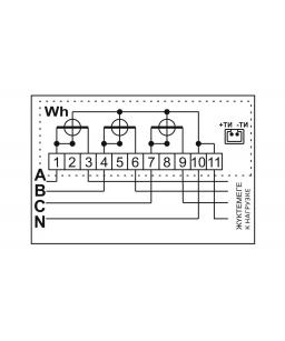 Счетчик электронный 3фаз. однотарифный ДАЛА СА4-Э720 3x220/380V 10(100)A
